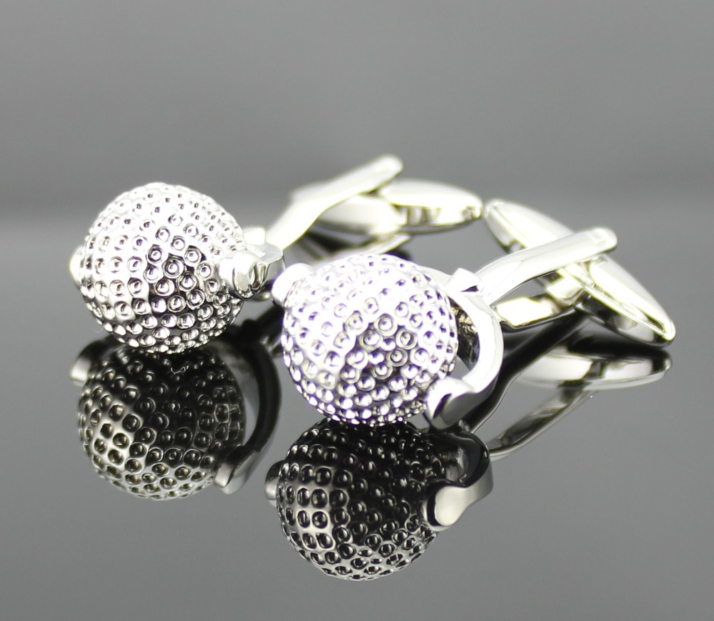 Fancy Cuff Links New 3D Silver Turning Golf ball CUFFLINKS for Shirt Only One HO605(China (Mainland))