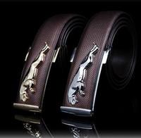 New Arrive Fashion Belt Mens Genuine Leather Belt  Man Waist  Alloy Gold$Silver Leopard /Horse / Dragon Buckle Belts
