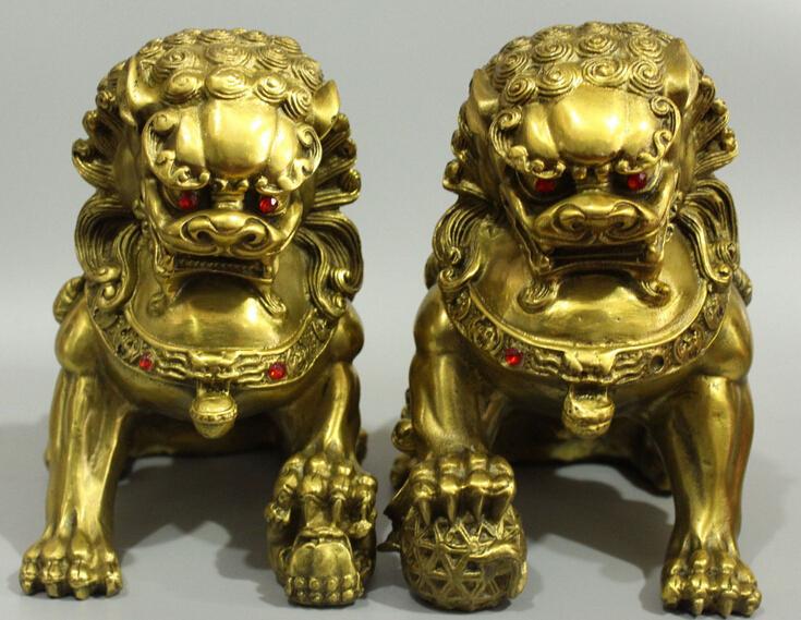 Chinese Bronze Guardian Foo Fu Dog Phylactery Door Lion bALL Kid Pair Sculpture(China (Mainland))