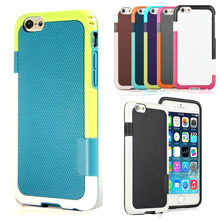 Candy Double Color ARMOR Soft TPU Silicone Hybrid Back Case For iphone 6 Shockproof Cell Phone Protect Cover Bag For iphone6(China (Mainland))