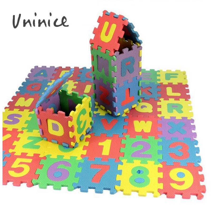 New 36pcs/Set 6x6cm Puzzle Letters Carpet Baby Play Mat Floor Puzzle Mat EVA Children Foam Carpet Mosaic Floor Uninice(China (Mainland))