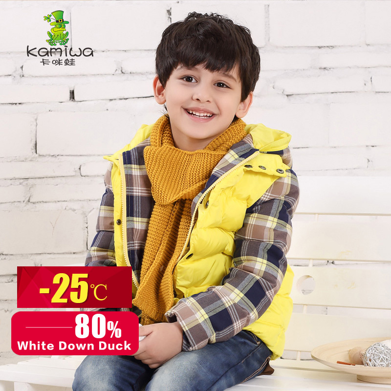 KAMIWA 2015 Winter Teenage Boys White Duck Down Coats Plaid Yellow Outerwear Casual Jackets Childrens Clothing Kids Clothes<br><br>Aliexpress