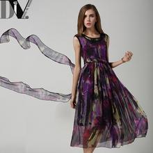DIV Boho Summer Women Maxi Dress Brand New Sleeveless High Waist Vestido O-Neck Print Elegant Long Dress Femme Clothes Size S-XL(China (Mainland))