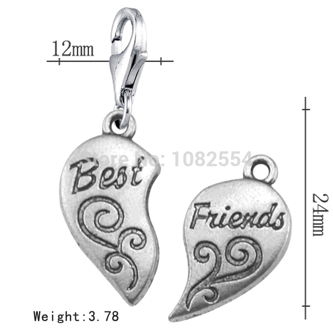 Wholesale 20pcs Antique Silver Live Memory Best Friends Puzzle Piece Heart Charm Lobster Jewelry For Decoration(China (Mainland))