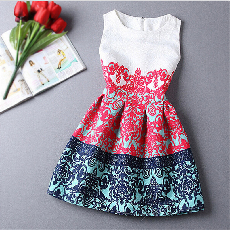 Sleevless Baby Girl Dress Rose Floral Pattern A-Line Princess Dress Girls Chinese Style Baby Dress Designer Kids Clothes 6-12Y(China (Mainland))