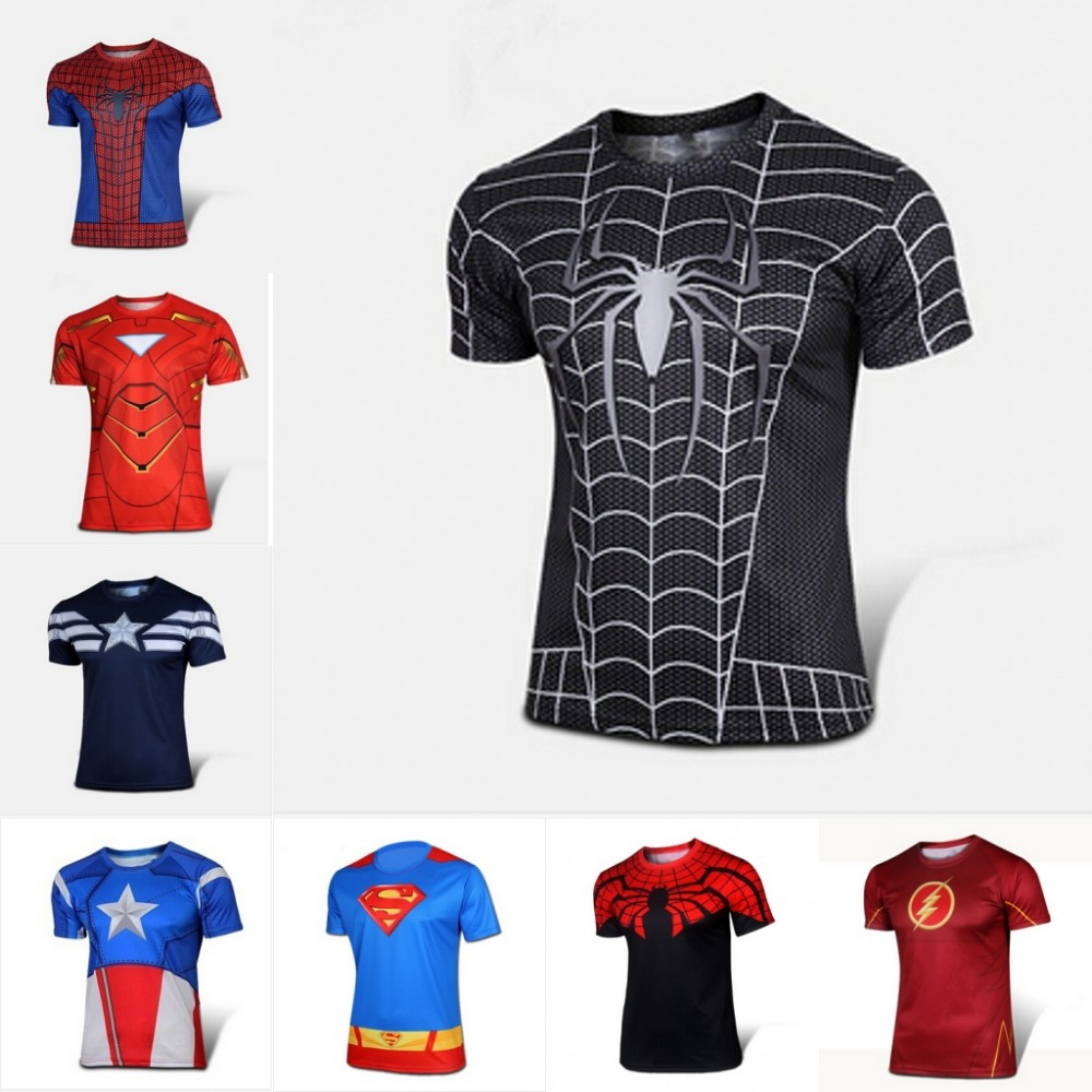 Marvel Super Heroe Avenger Batman sport T shirt Men Compression Armour Base Layer short Sleeve Thermal Under Top Fitness T shirt(China (Mainland))