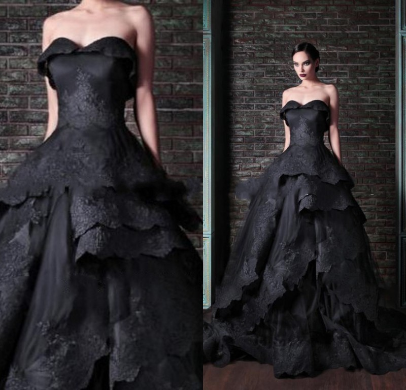 Actual Image Black Wedding Dress 2015 Gothic Victorian