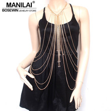 Buy MANILAI Fashion Body Chain Necklace Women Crystal Bead Tassel Necklaces & Pendants Sexy Long Necklace Collares Statement Jewelry for $6.79 in AliExpress store