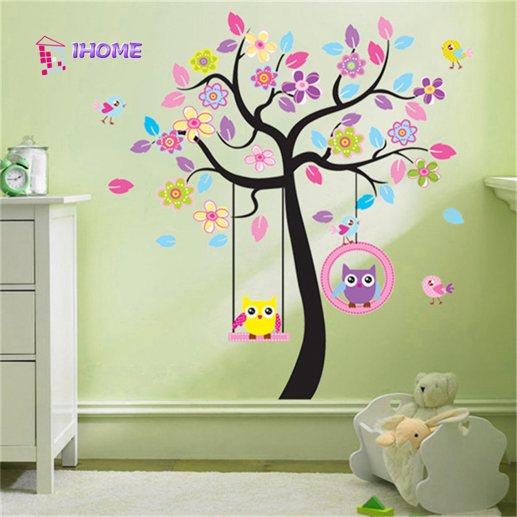 Kawaii Owls Wall Stickers Children's Bedroom Decorations Nursery Children Girls Cartoon House Decals Animals Tree Mural Arts(China (Mainland))