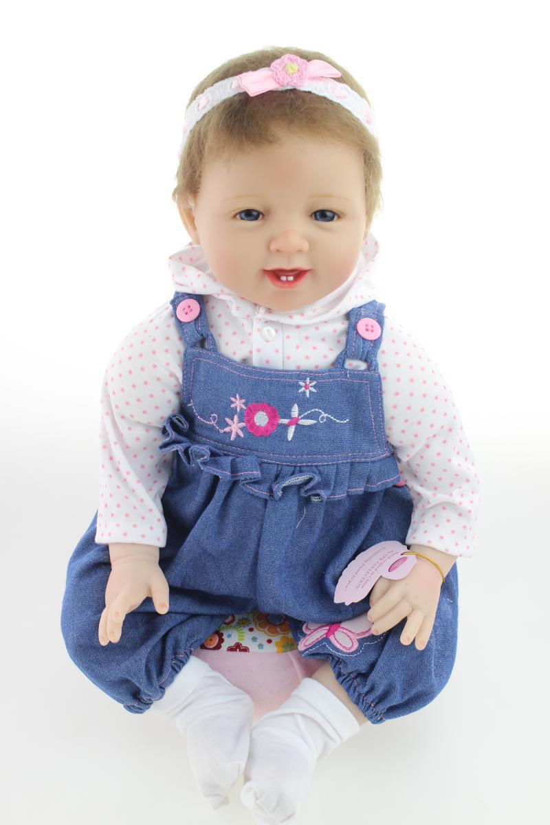 Free Shipping 2015 Latest 22 Inch Silicone Reborn Baby Dolls with Cloth,Lifelike Baby-Reborn Collection Doll Toys for Kid's Gift(China (Mainland))