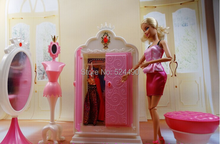 Closet Wardrob + mirror + Clothes rack + Chair Set / Dollhouse Furniture Puzzle Toy Accessories Decoration for Barbie Kurhn Doll(China (Mainland))