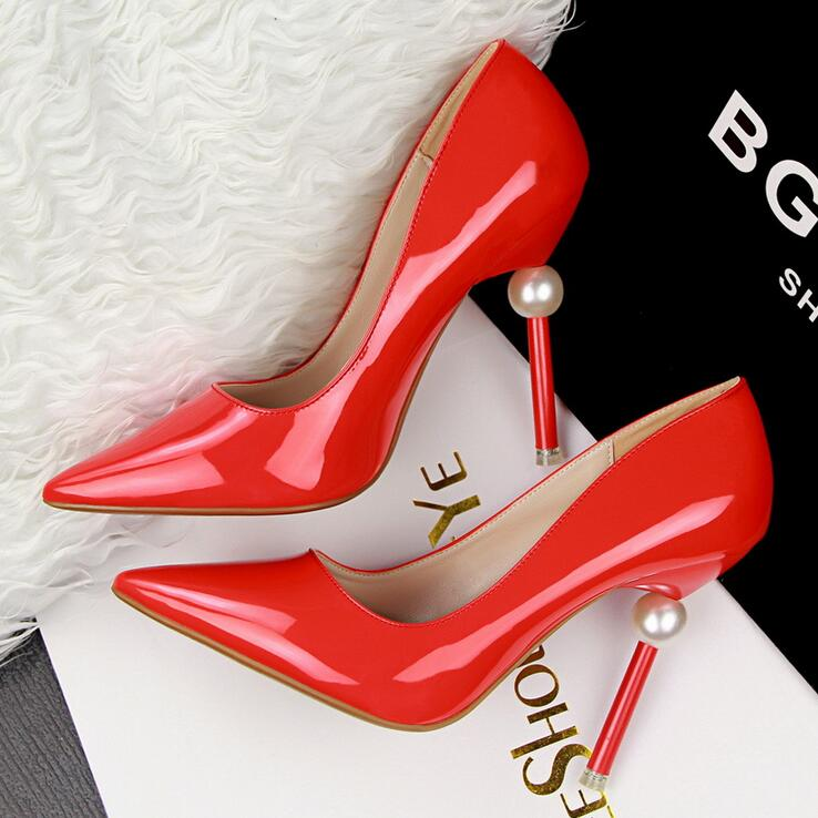 New Sexy Elegant High Pearl Ball Heels Shoes Women Pointed Toe Party Shoes Woman Office Lady Work Wear Pumps Sapato Feminino<br><br>Aliexpress