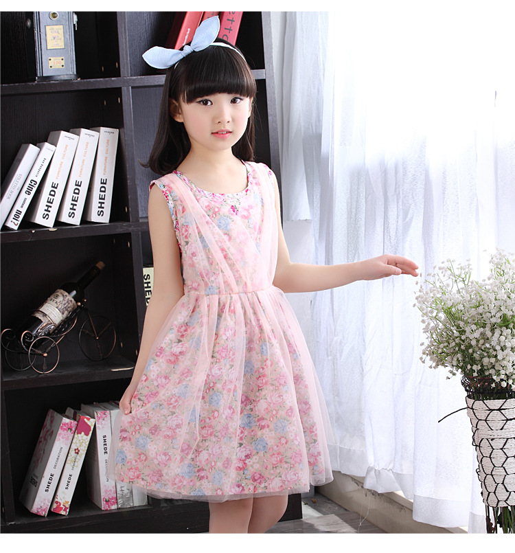 Children Clothing Girls Dresses Baby Girls Mesh Dress Summer Fashion Flowers Princess Dress Pink Color For Girls 5 to 12 Ages(China (Mainland))