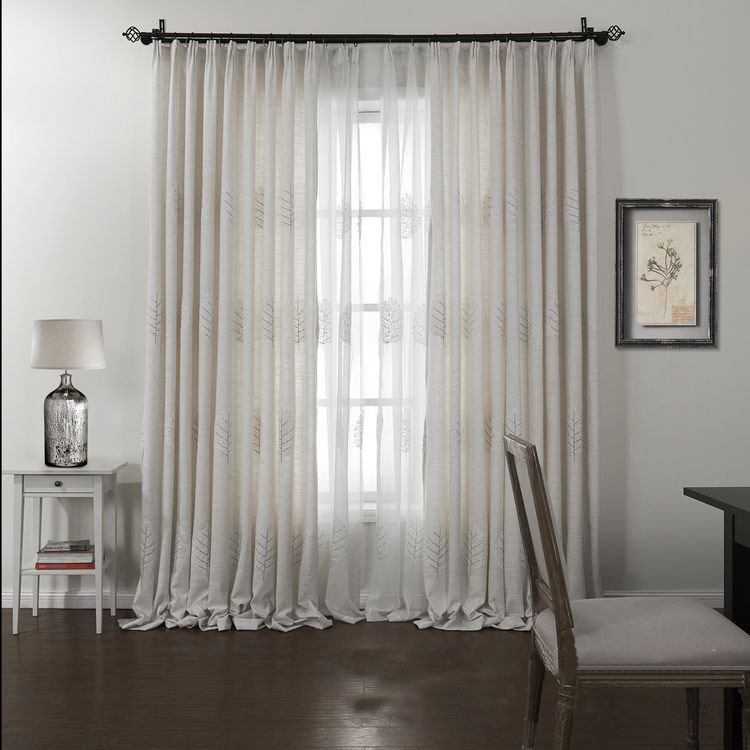 pure white linen embroidered curtains cafe curtains living