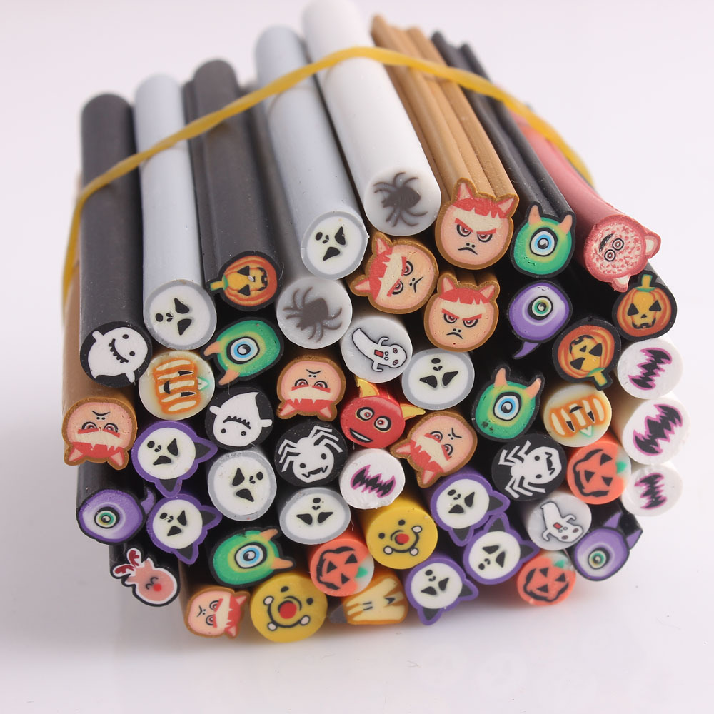 Wholesale 100pcs halloween styles nail art canes fimo 3d - Faire des decorations d halloween ...