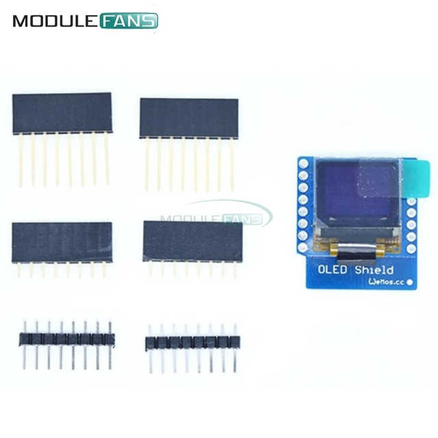 "SSD1306 OLED Shield For WeMos D1 Mini  IIC I2C IOT 0.66"" inch 64X48 For Arduino Compatible Module 3.3V WeMos D1 Mini"