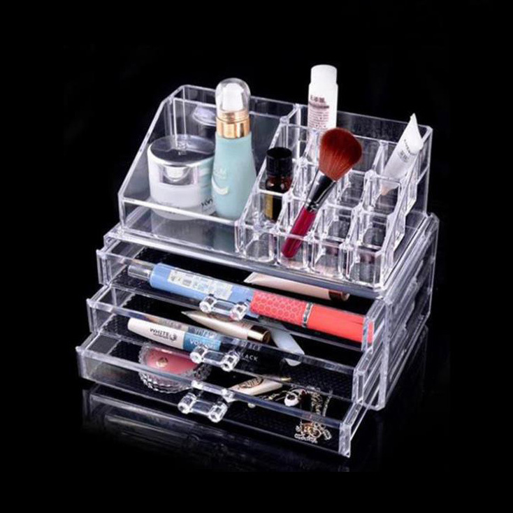 Transparent Acrylic Cosmetic Storage Containers For Makeup With Three Drawers Storage Boxes(China (Mainland))
