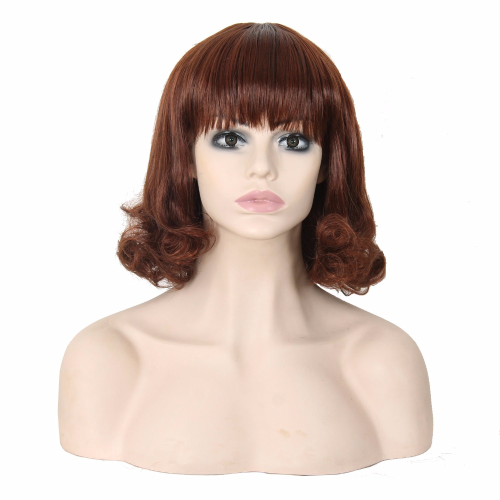 Cheap Synthetic Hair 13 Inches Short Bob Hairstyle #350 Wigs With Bangs Best Natural Looking Synthetic Glueless None Lace Wig(China (Mainland))