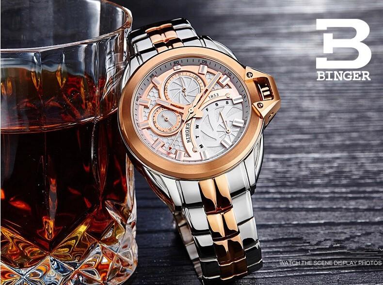 2016 Новый бренд Бингер часы мужчины Бизнес Натуральная кожа черная урожай часы кварцевые мужчины наручные часы relogio masculino couro