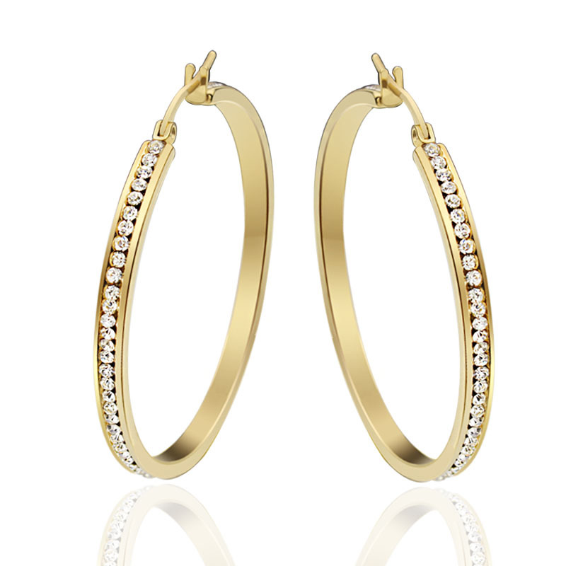 New Fashion Elegant Round Crystal High Quality Gold Hoop Earrings for Women Hoop Earrings Party Earrings Women Fashion Jewelry