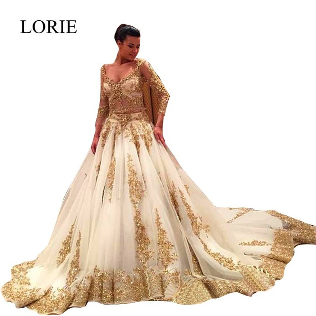 Long Sleeve Wedding Dresses With Long Trains : Luxury long sleeve white gold wedding dresses with train