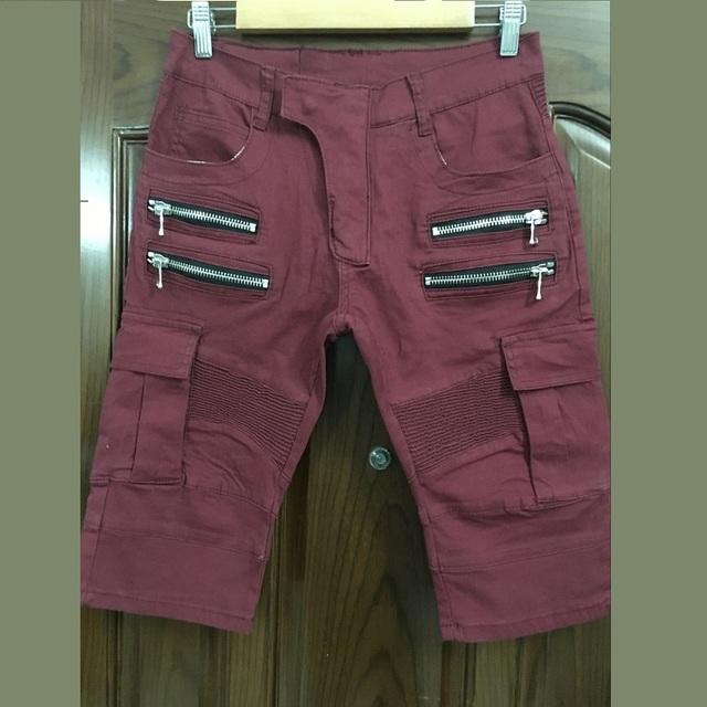 Сзт стильная мужская мода красный стретч-джерси брюки-карго байкер короткие джинсы ...