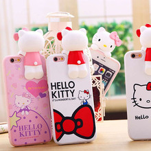 Fashion 3D Hello Kitty Knot Bow Phone Case iPhone 5 5s 5se 6 6s 6plus 6splus 5.5 Cute i6 Back Cover Pink Red - AKen Store store