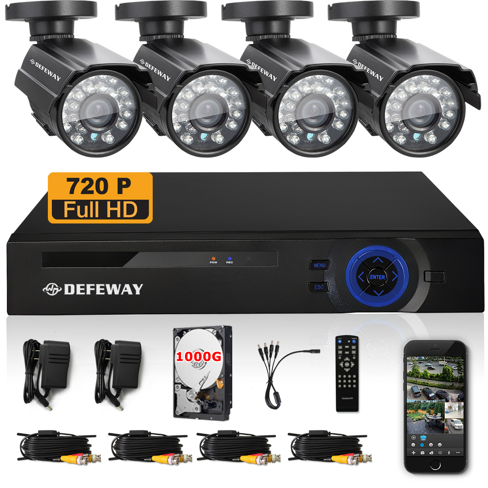 DEFEWAY 1TB HDD 8CH AHD Recorder 720P CCTV System 8 CH DVR KIT outdoor camera Night vision bullet cameras Home security System