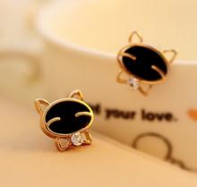 2015 Hot Sale Cute Korean Fine Gold Tone Black Enamel Mashimaro Rabbit Stud Earrings Jewelry Gift For Women Accessories E307