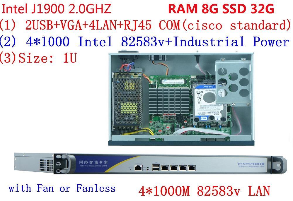 factory price pc J1900 firewall pc 4 lan computer 1u server with 8G RAM 32G SSD(China (Mainland))