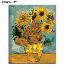 Van Gogh Sunflower Painting By Numbers Frameless Pictures DIY Canvas Oil Painting Home Decoration For Living Room G234 40*50cm(China (Mainland))