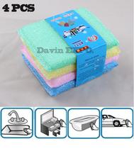 4Pcs/lot Pan Bowl Dish Wash Clean Scouring Sponge Pad  Kitchenware Stain Remover Pad(China (Mainland))
