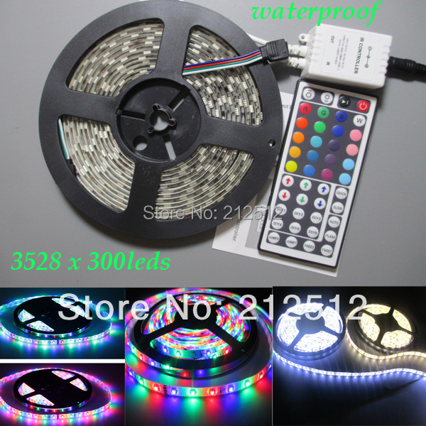 5m/roll 3528 SMD 18W 12v waterproof 300leds Flexible RGB White Warm White Ribbon Tape LED Strip Decoration Light Free Shipping(China (Mainland))