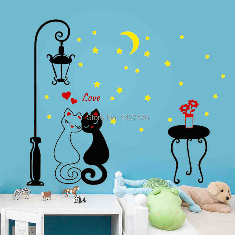 2015 new cartoon cat wall stickers bedroom bedside romantic room decorated living sofa background sticker - Nanjing Rui Xin household goods store