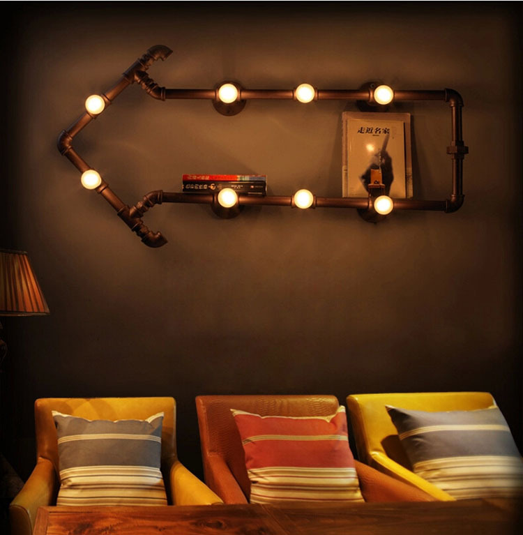American Country Style Light Creative Industrial Iron Water Pipe Vintage Sconce LED E14 Wall ...