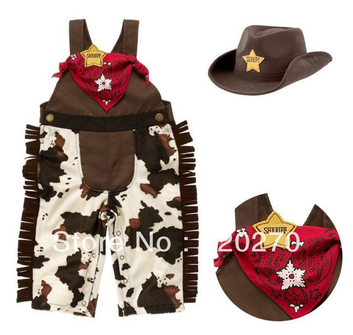 Free Shipping Summer Baby Boys Animal Design Lion One-Piece Romper + Cowboy Hat + Scarf Infant Toddlers Jumpsuits Kids Garments(China (Mainland))