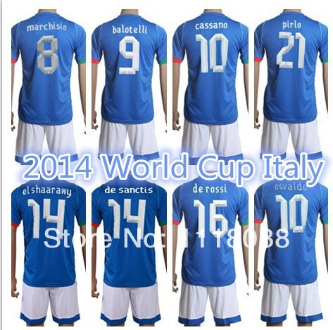 2013-14 Season National team 2014 Brazil World Cup soccer jersey Italy football uniform shorts kits 100% cotton AAA quality IT02 - D&T SOCCER JERSEY STORE store