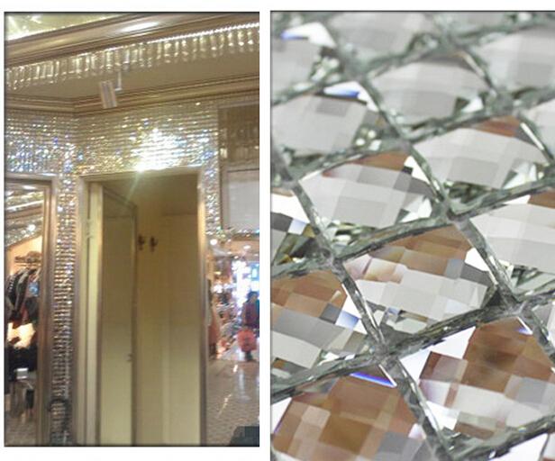 13 edges beveled Crystal Diamond Mirror Glass Mosaic Tiles for wall_showroom KTV Display cabinet DIY decorate(China (Mainland))