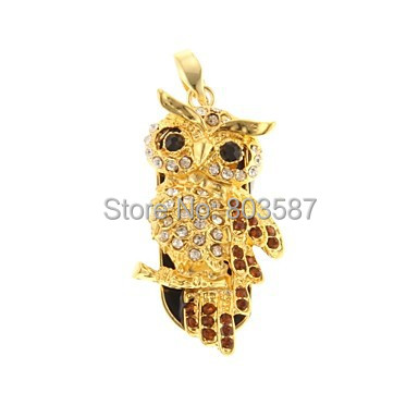 Golden Owl Pattern Bling Diamond Metal Style USB Flash Pen Drive Disk Memory Stick 1GB 2GB 4GB 8GB 16GB 32GB 64GB U058 - New Swell store