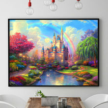 2016 Needlework,DIY DMC Cross stitch,Sets For Embroidery kits,Precise Printed Rainbow Castle Patterns Counted Cross-Stitching(China (Mainland))