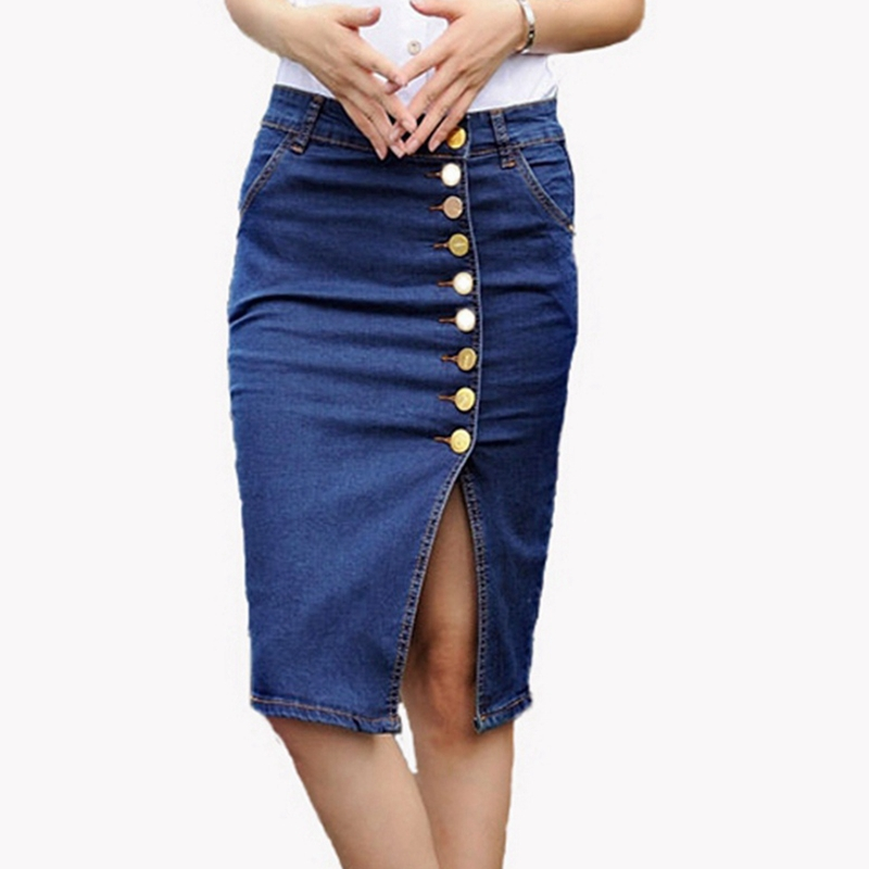 Plus Size M-5XL 2015 New Arrival Summer European Style Women Fashion Denim Pencil Skirts Sexy Ladies Single Breasted Knee Length(China (Mainland))
