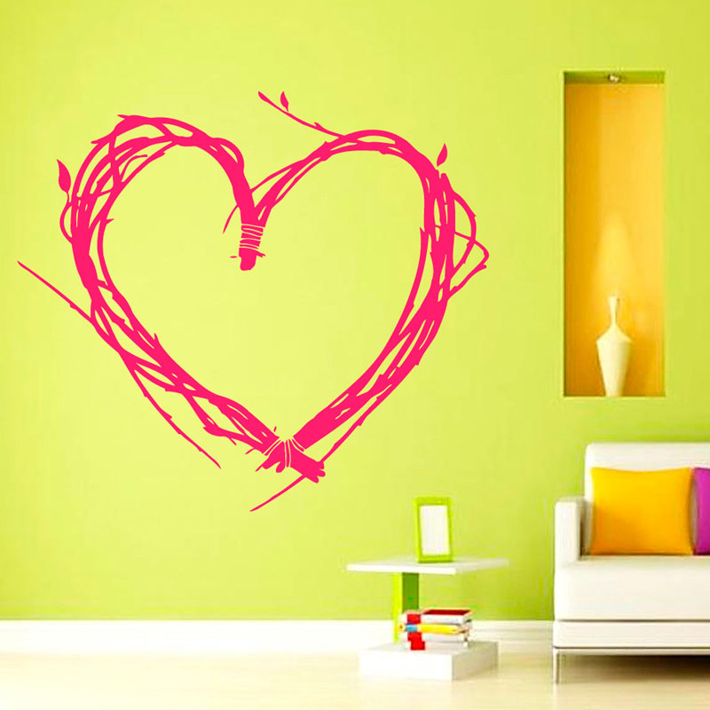 Valentine'S Day Wall Stickers Tree Twigs Heart Shaped Home Decor Vinyl Removable Creative Wall Decals(China (Mainland))