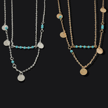 Boho Fashion Summer Beauty Blue Beads 2 Layers Chain Necklaces Pendants 2 Color Jewelry Gifts Necklace