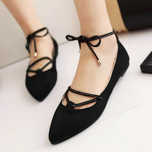 Sexy  Flock Thick Low Heel Night Club Women Pumps Size 34-43 Lady Pointed Toe Lace Up Butterfly Knot Fashion Casual Shoes Black