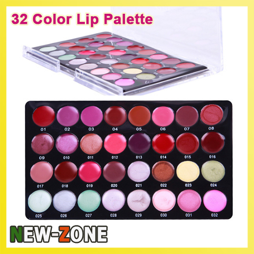 (Min Order 10$) Professional Mini 32 Color Lipstick Palette Makeup Artist Highly Recommend Moisture Lip Gloss Set(China (Mainland))