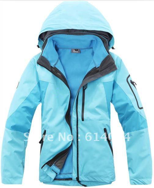 Free shipping 2012 new windproof waterproof woman Jackets / warm two-piece coat / women clothing(China (Mainland))