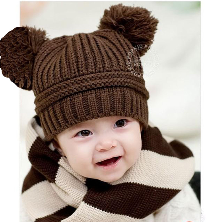 2015 Korean New Fashion Baby Girls Boys Kids Children Dual Ball Knit Sweater Cap Hats Winter Warm Knitted H33(China (Mainland))