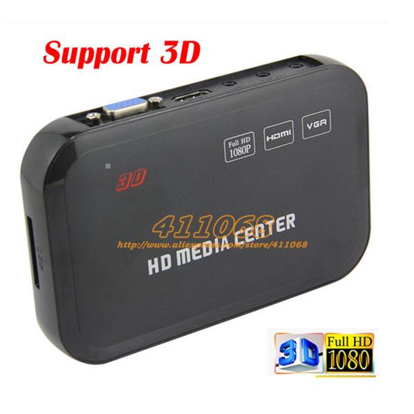 High Quality 3D USB Full HD 1080P HDD Media Player with HDMI VGA AV SD/MMC Port - Free Shipping(China (Mainland))