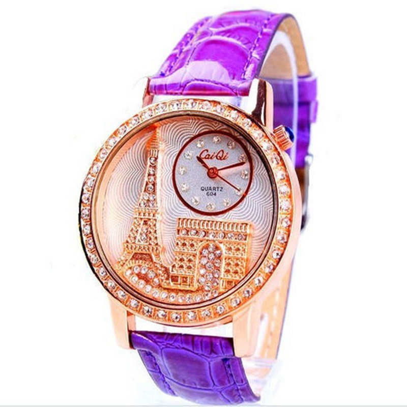 Fashion Luxury Brand Women Dress Watch Emboss Eiffel Tower Leather Strap Casual Quartz Watches Ladies Rhinestone Wristwatch - Leader Home store