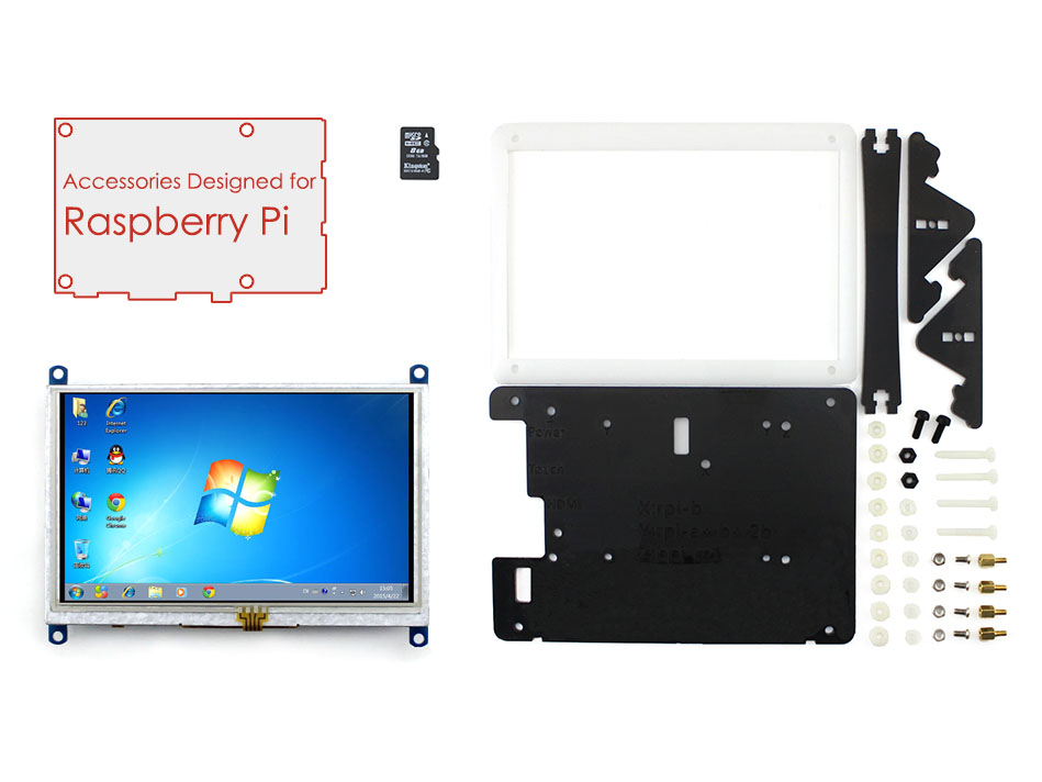 Raspberry Pi Accessory Pack with 5 inch HDMI LCD Display Support Mini PC& Raspberry Pi 3 B/2 B With Case&8GB Micro SD Card(China (Mainland))